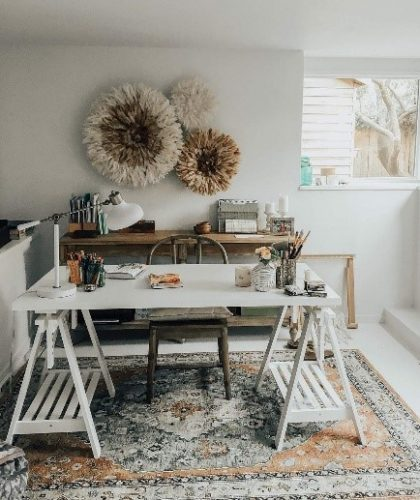 Lem kayu dan lem hpl Crona - instagram.comadvicefroma20something ruang kerja bohemian e1605287601807